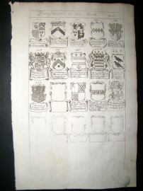 Richard Blome 1686 Folio Antique Print. Heraldry - 10